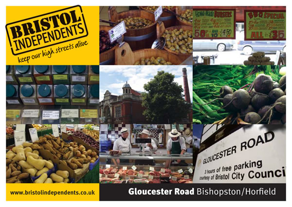 Gloucester road photo postcard - local area, markets, scoopaway and food
