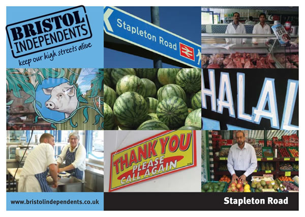Stapleton Road postcard - photos of signs, fruit and shops in Stapleton road