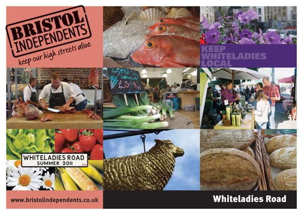 Whiteladies Road postcard with photos of area and local food