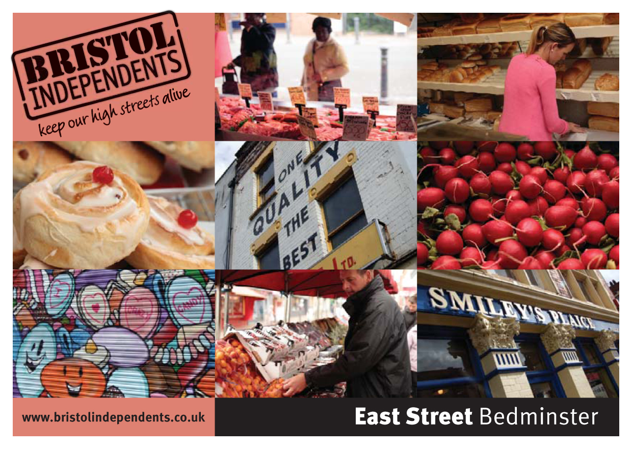 East Street Bedminster postcard - local places, shop signs and food