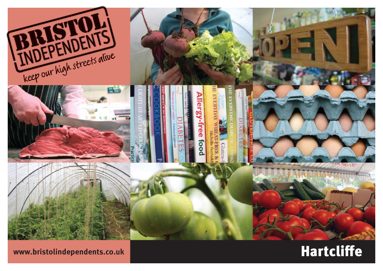 Hartcliffe postcard - local places, shop signs and food