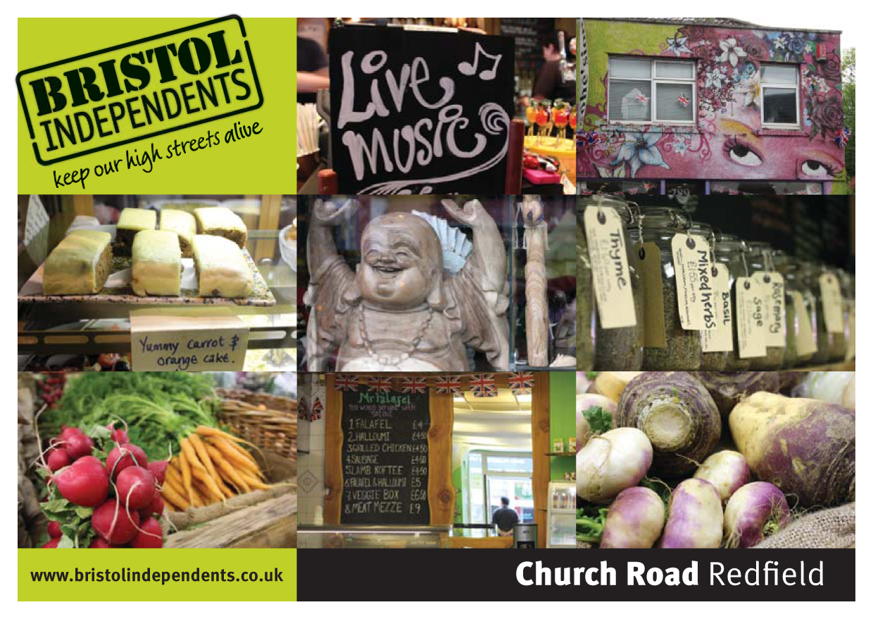 Church Road postcard - local places, shop signs and food