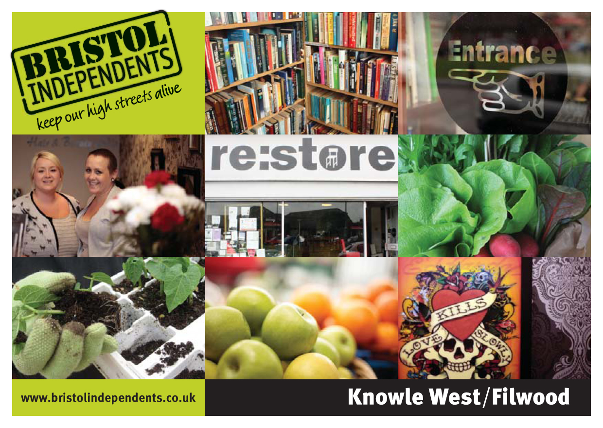 Knowle West-Filwood postcard - local places, shop signs and food