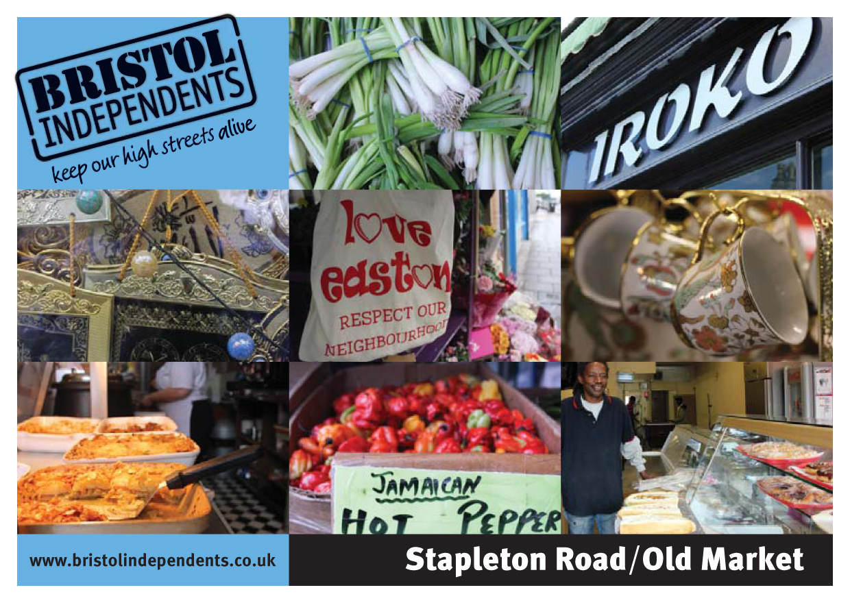 Stapleton Road-Old Market postcard - local places, shop signs and food